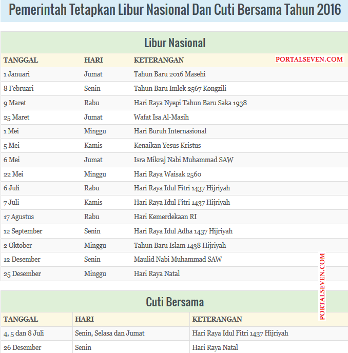 Indonesia Holidays Calendar 2016
