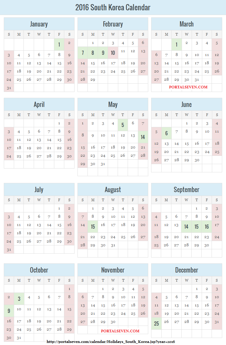 South Korea Holidays Calendar 2016