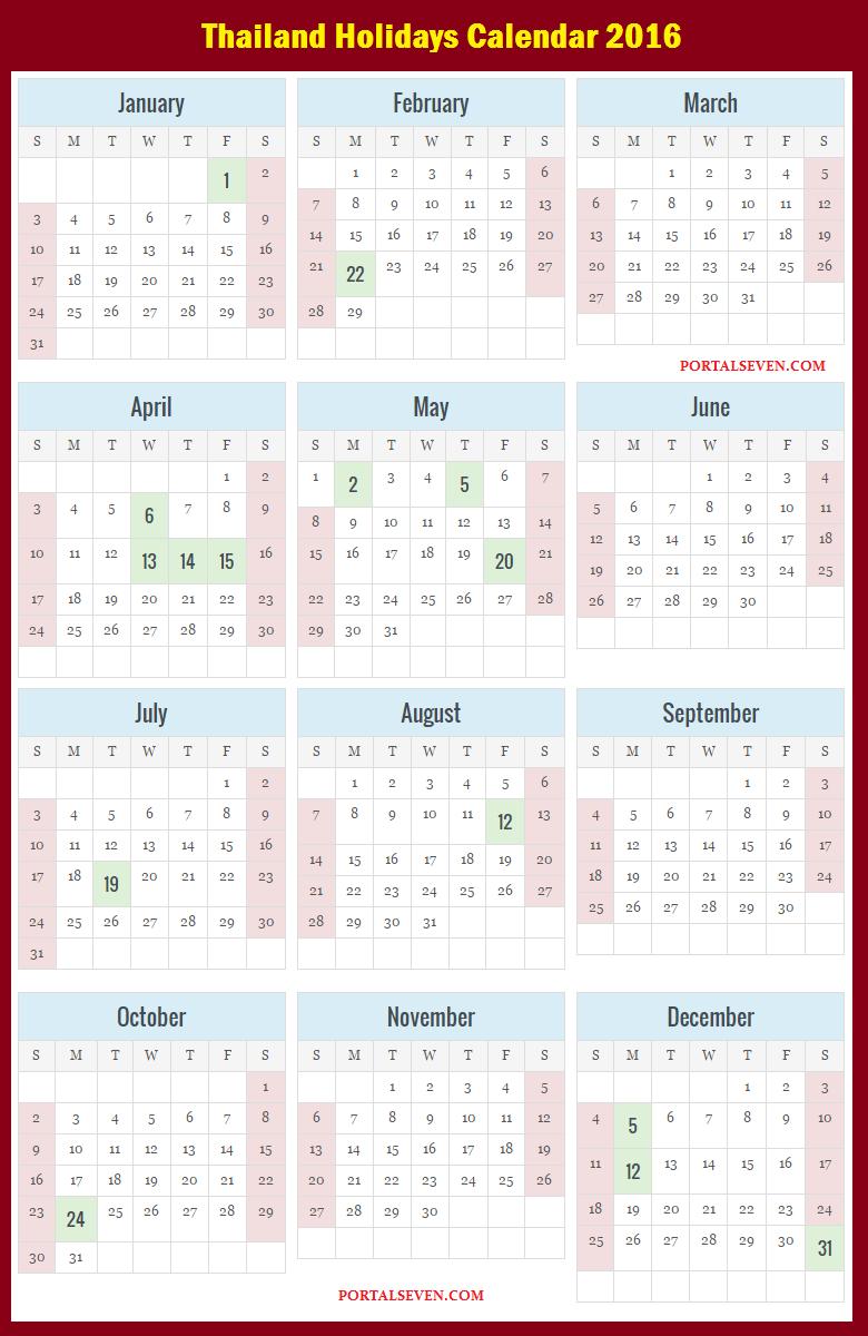 Thailand Holidays Calendar 2016