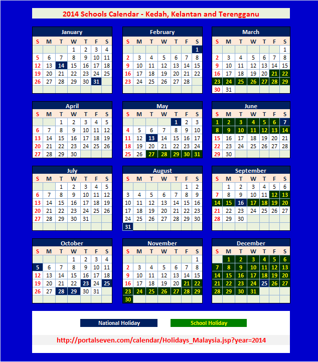 2015 Calendar with School Holidays