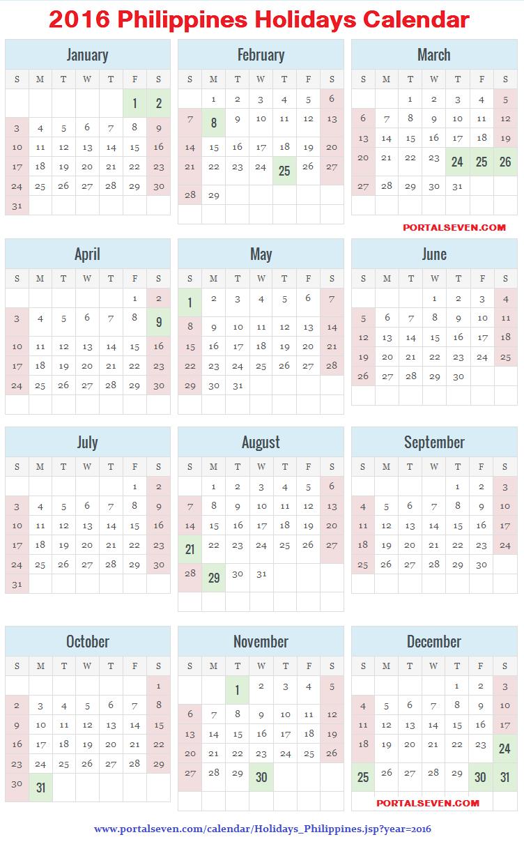 Philippines 2016 Calendar | Filipino Holidays 2016