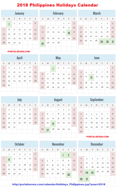 philippines holidays calendar 2018