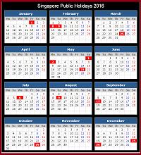 Singapore 2016 Holidays Calendar