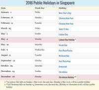 Singapore Public Holidays 2016