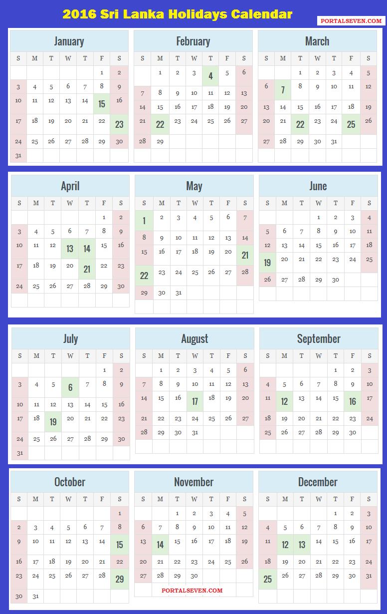Sri Lanka Holidays Calendar 2016