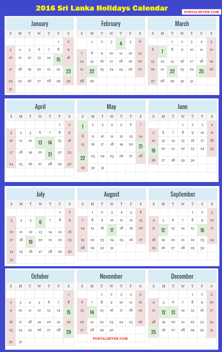 2016 sri lanka calendar 2016 sri lankan holidays