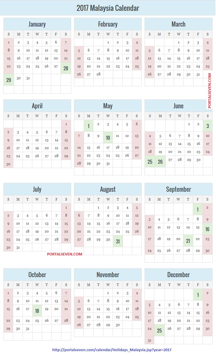 Malaysia Holidays Calendar 2017
