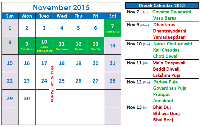 Diwali Calendar 2015