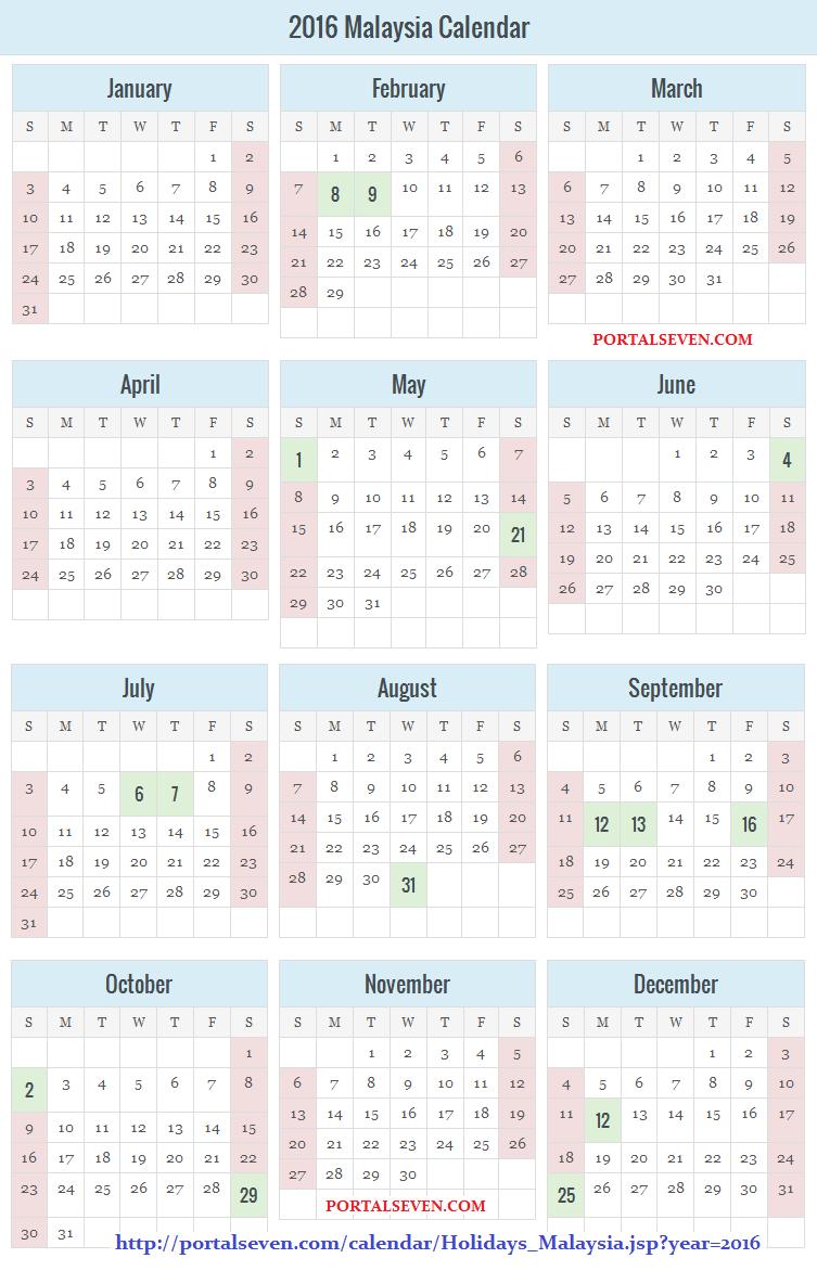 Malaysia Holidays Calendar 2016
