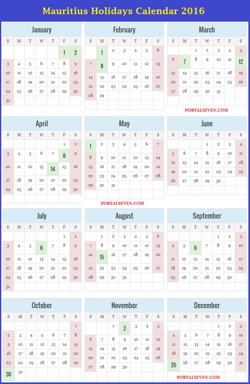 Mauritius Holidays Calendar 2016
